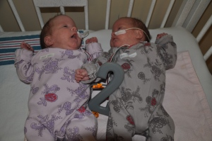 Ella and Raegan, day 59 (two months) in NICU